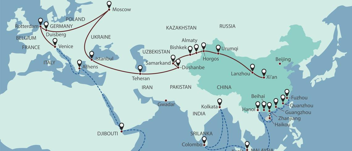 Is the new 'Great Game' a China-Russia duel over Central Asia? China Russia Map on