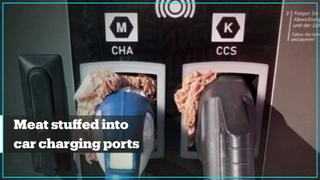 Raw meat stuffed into electric car charging ports