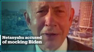 Netanyahu mocks Biden for 'falling asleep' in an already debunked video