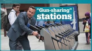 """Gun Share"" artwork in Chicago symbolises easy access to weapons"