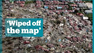 Drone footage shows devastation in Indonesian village