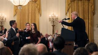 The Trump Presidency: Trump clashes with reporters at news conference