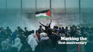Palestinians rally to mark the anniversary of the 'Great March of Return' protests