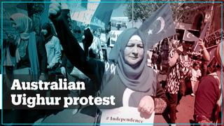 Australian Uighurs protest against the Chinese government