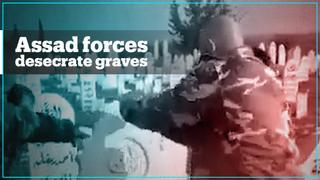 Assad regime forces desecrate graves