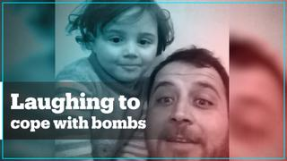 Syrian man and daughter play unusual game to cope with bombings