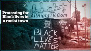 White man holds Black Lives Matter sign in America's most racist town