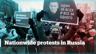 Tens of thousands of people join pro-Navalny protests across Russia