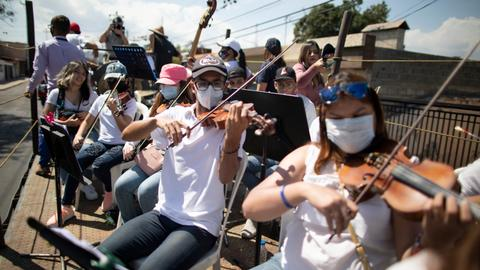 Moving orchestra gives some respite from Covid-19 in Venezuela