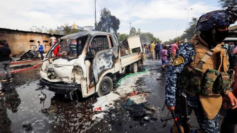 Several deaths in Baghdad as car bomb hits a busy market