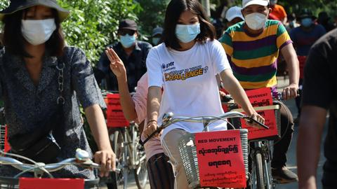 Anti-coup citizens in Myanmar hold silent strike during Buddhist holiday