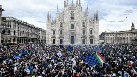 Inter fans flood onto Milan streets to celebrate winning 19th Scudetto