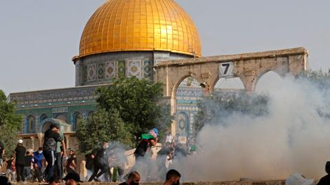 In pictures: Violence erupts after Israeli forces raid Al Aqsa compound