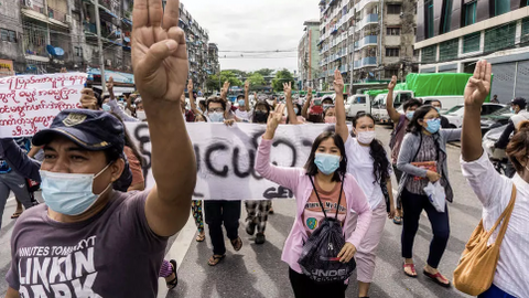 Anti-junta protesters in Myanmar show support for Rohingya