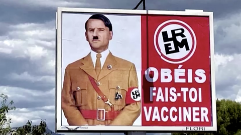 Man sued by Macron over Hitler billboard mocks French double standards