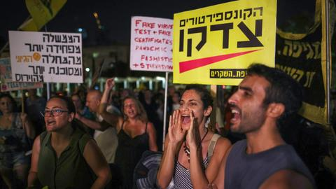 Israelis protest to denounce renewed Covid-19 restrictions
