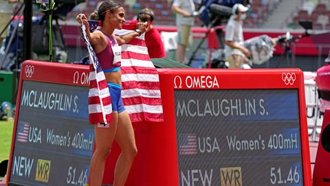 USA's McLaughlin shatters world record in women's 400m hurdles at Olympics