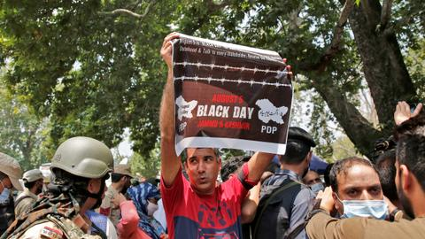 Troops patrol India-administered Kashmir on 'black day' anniversary