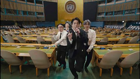 Boy band BTS sings its way through UN General Assembly
