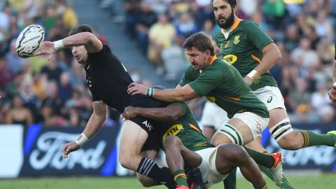 All Blacks edge Springboks in 100th test to clinch Rugby Championship