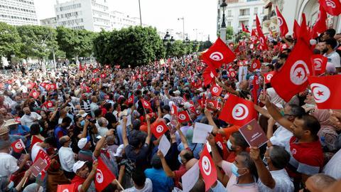 Tunisians take to streets against President Said's seizure of powers
