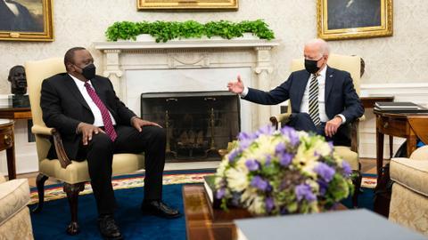 Biden promises more vaccines, ties for Africa as Kenyatta visits