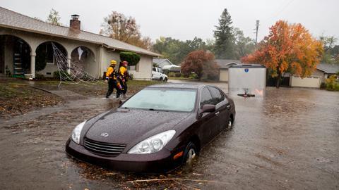 'Bomb cyclone' pummels fire-scarred California