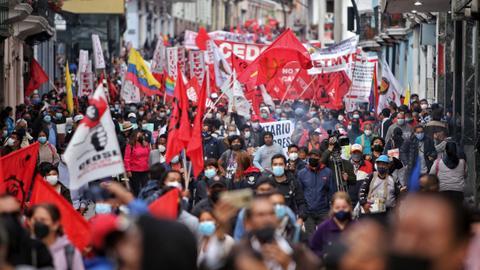 Indigenous demonstrators block roads to protest fuel prices in Ecuador
