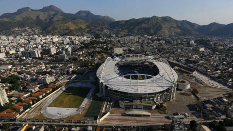 Construction halted at Olympic venue 88 days before games