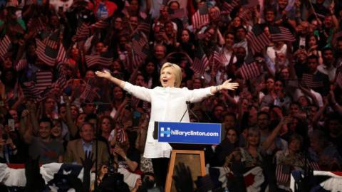 Clinton celebrates victory in race for Democratic nomination