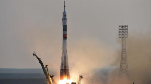 Three astronauts take off for space station
