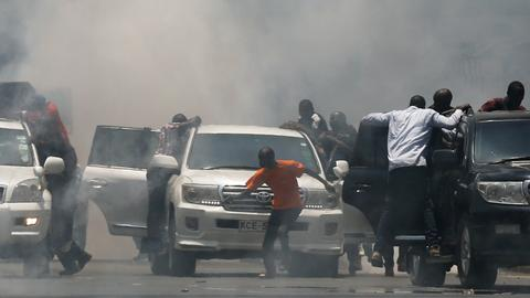 Police tear-gas opposition protesters in Kenya ahead of polls