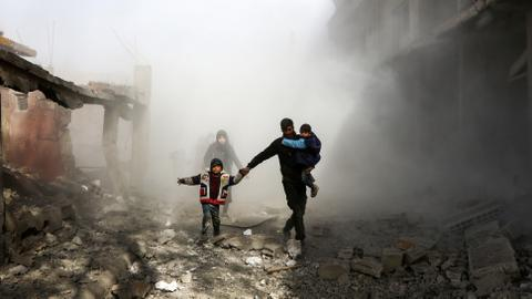 At least 75 killed in fresh regime strikes on Syrian enclave
