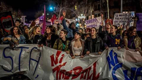 Defiant women flood Barcelona — an unprecedented sight