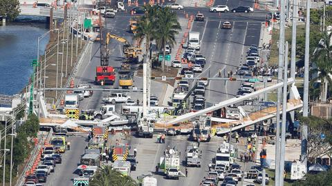 Miami foot bridge collapse leaves at least six people dead