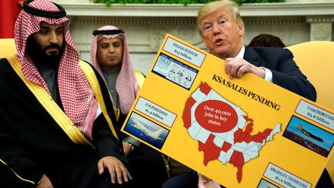 Trump praises US military sales in talks with Saudi crown prince