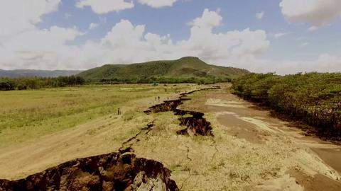 Kenya's Rift Valley-cracks damage roads and farmland