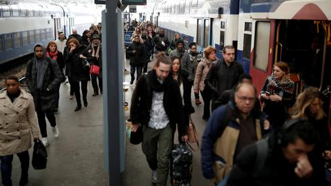 French rail workers begin months of strike in test for Macron