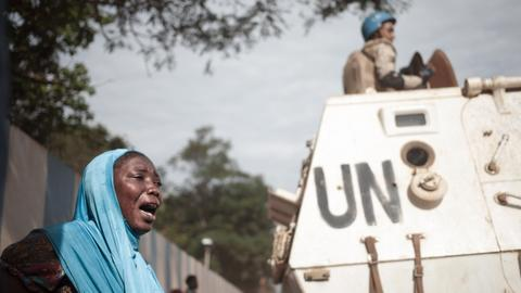 Central African Republic demonstrators lay corpses in front of UN mission