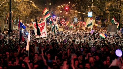 Thousands of Hungarians protest against Orban landslide win