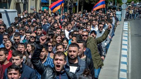 Protesters clash with police in Armenia in anti-government protests