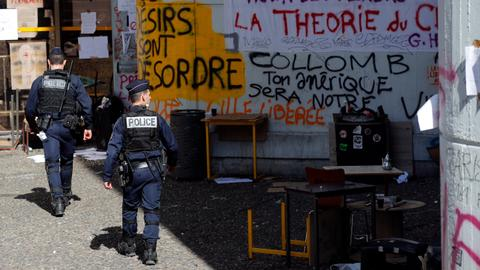 Police raid French university amid anti-Macron protests