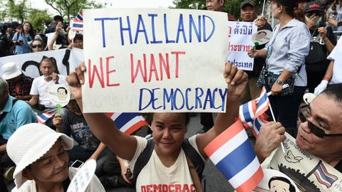 Protest greets fourth year of Thai junta rule