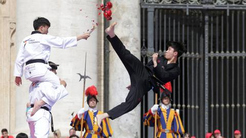 Korean Taekwondo athletes perform for unity at the Vatican
