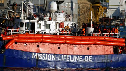 Migrant rescue ship Lifeline docks in Malta