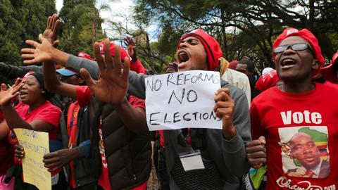 Zimbabwe's main opposition party holds mass protest against upcoming polls