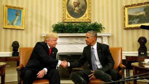 Obama hosts Trump at White House for first meeting after election.