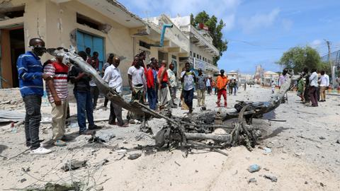 Twin blasts kill at least six near Somalia's presidential palace