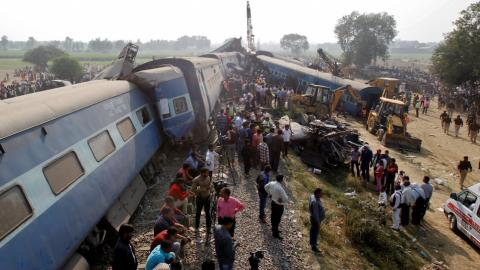 Scores die from train derailment in India