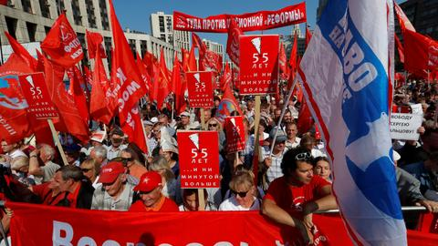 Thousands rally against pension reform in Russia